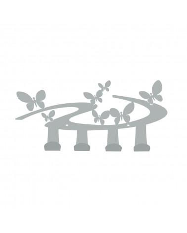 Appendiabiti Farfalle da parete 4 ganci colore argento