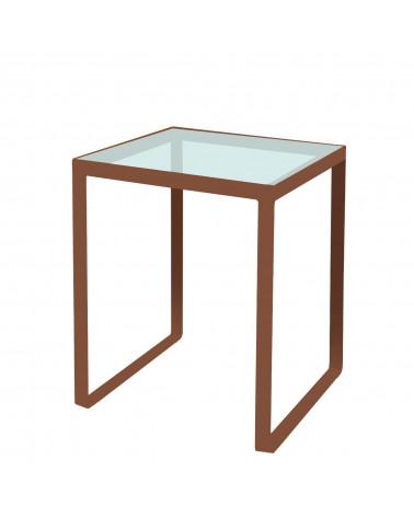 tavolino in ferro con ripiano in vetro colore corten