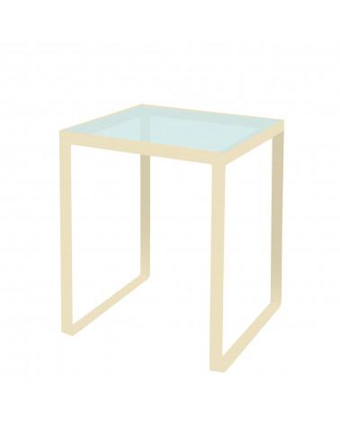 tavolino in ferro con ripiano in vetro colore avorio
