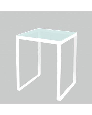 tavolino in ferro con ripiano in vetro colore bianco
