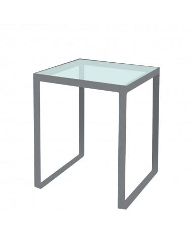 tavolino in ferro con ripiano in vetro colore ghisa