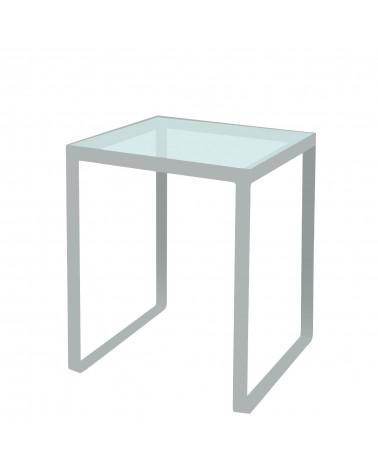 tavolino in ferro con ripiano in vetro colore argento