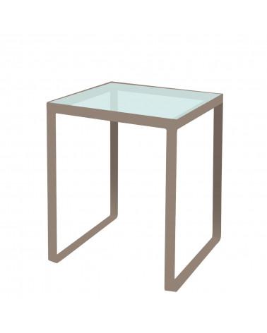 tavolino in ferro con ripiano in vetro colore tortora