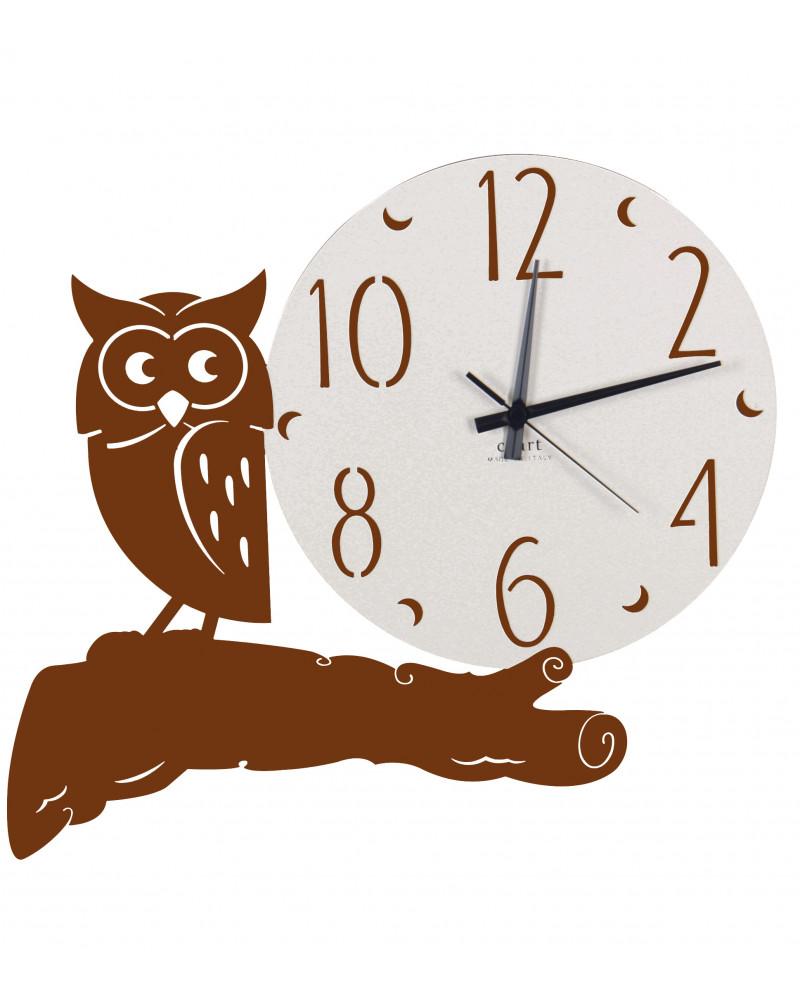 orologio parete moderno gufo colore corten