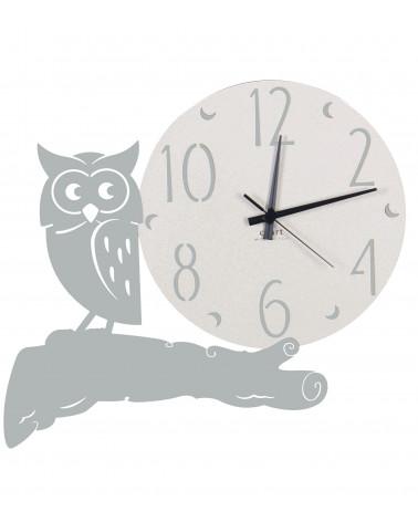 orologio parete moderno gufo colore argento