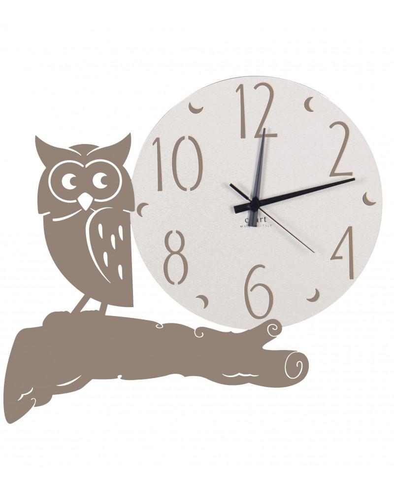 orologio parete moderno gufo colore tortora
