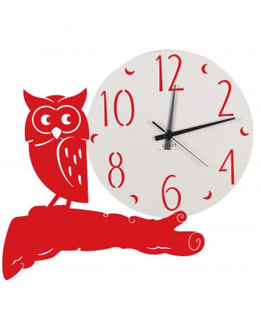 orologio parete moderno gufo colore rosso