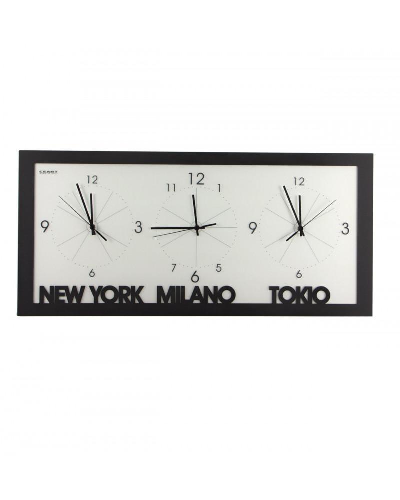 orologio da parete con fusi orari colore nero ora new york milano e tokyo