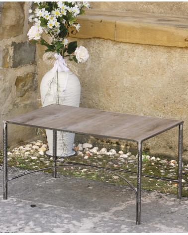 tavolino in ferro battuto rettangolare con ripiano in legno
