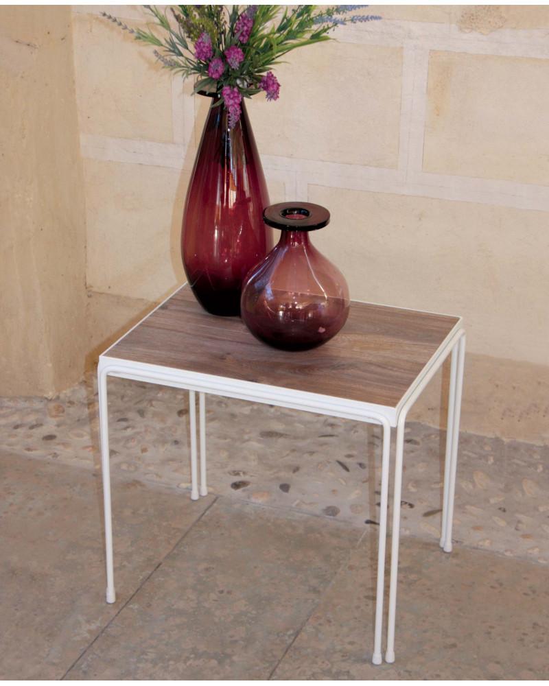 Tavolino Pietro in ferro battuto colore bianco  con ripiano in legno