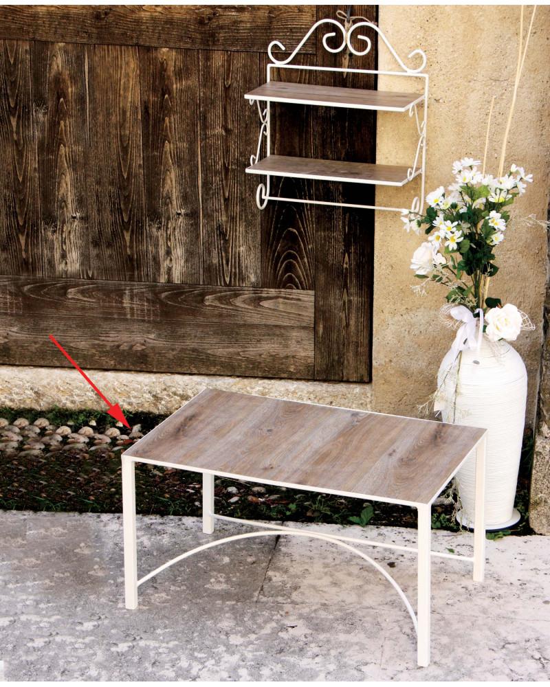 Tavolino rettangolare in ferro battuto con piano in legno