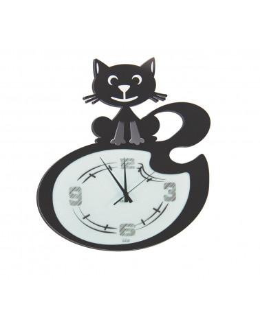orologio da parete simpatico con gatto stilizzato colore nero