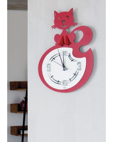 orologio da parete simpatico con gatto stilizzato colore rosso