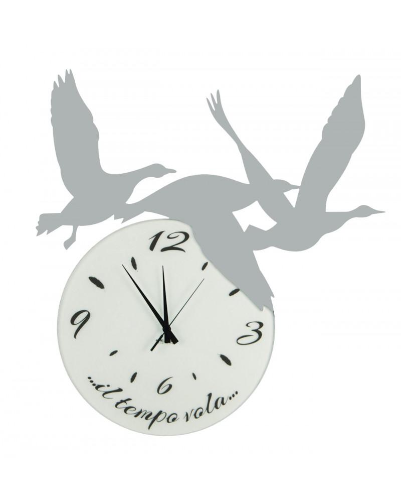 orologio di parete particolare Volare colore argento