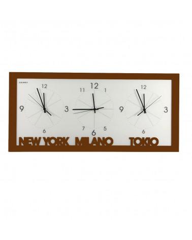 orologio da parete con fusi orari colore corten