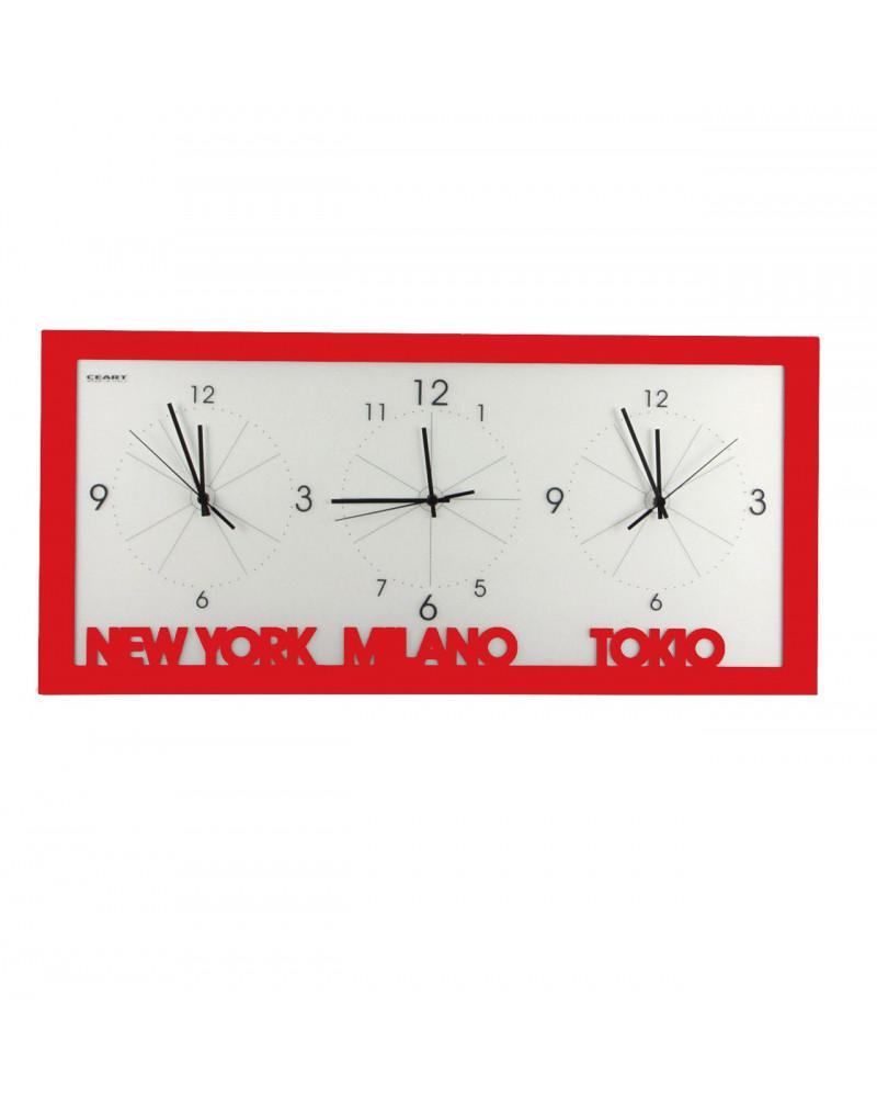 orologio da parete con fusi orari colore rosso