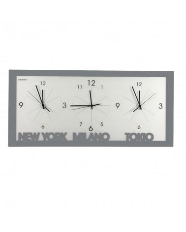 orologio da parete con fusi orari colore ghisa