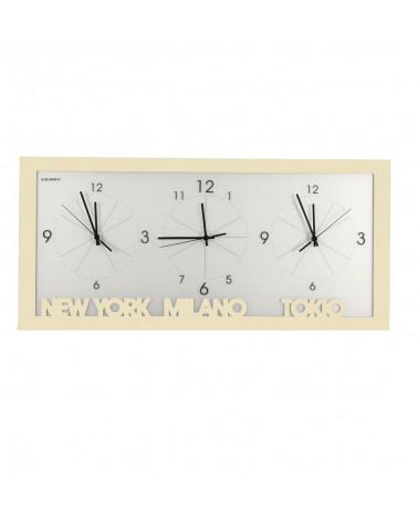 orologio da parete con fusi orari colore avorio