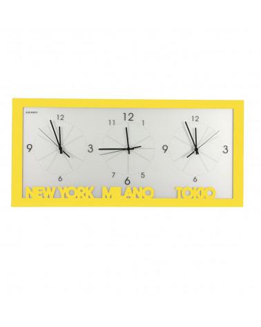 orologio da parete con fusi orari colore giallo