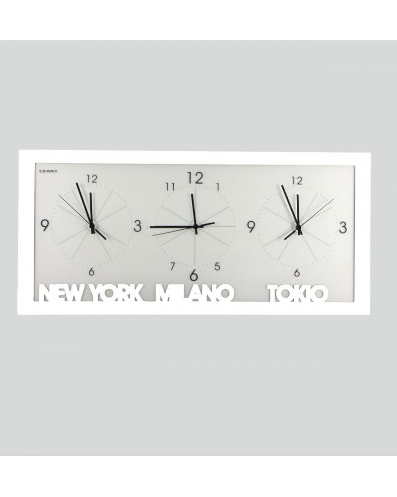 orologio da parete con fusi orari colore bianco