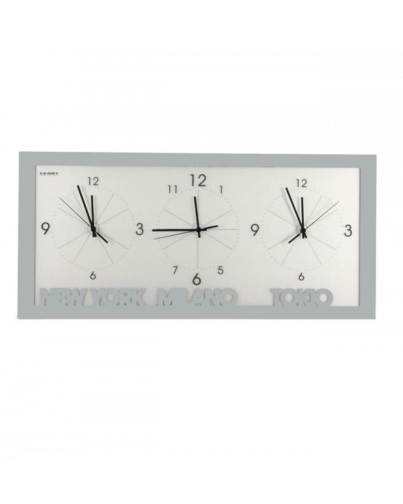 orologio da parete con fusi orari colore argento