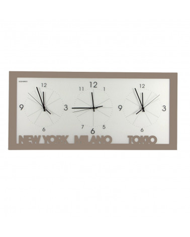 orologio da parete con fusi orari colore tortora