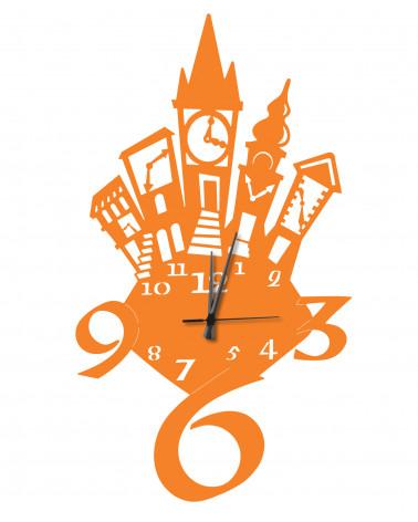Orologio da parete moderno Torri colore arancio in metallo design