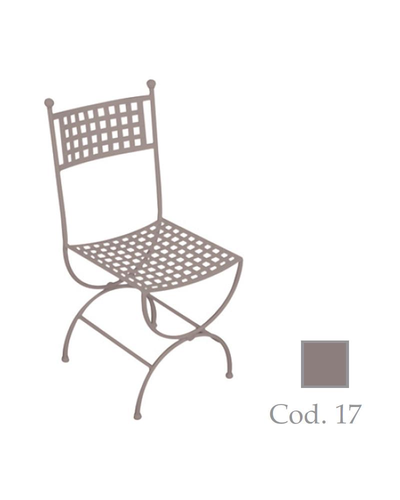 sedia in ferro battuto colore tortora
