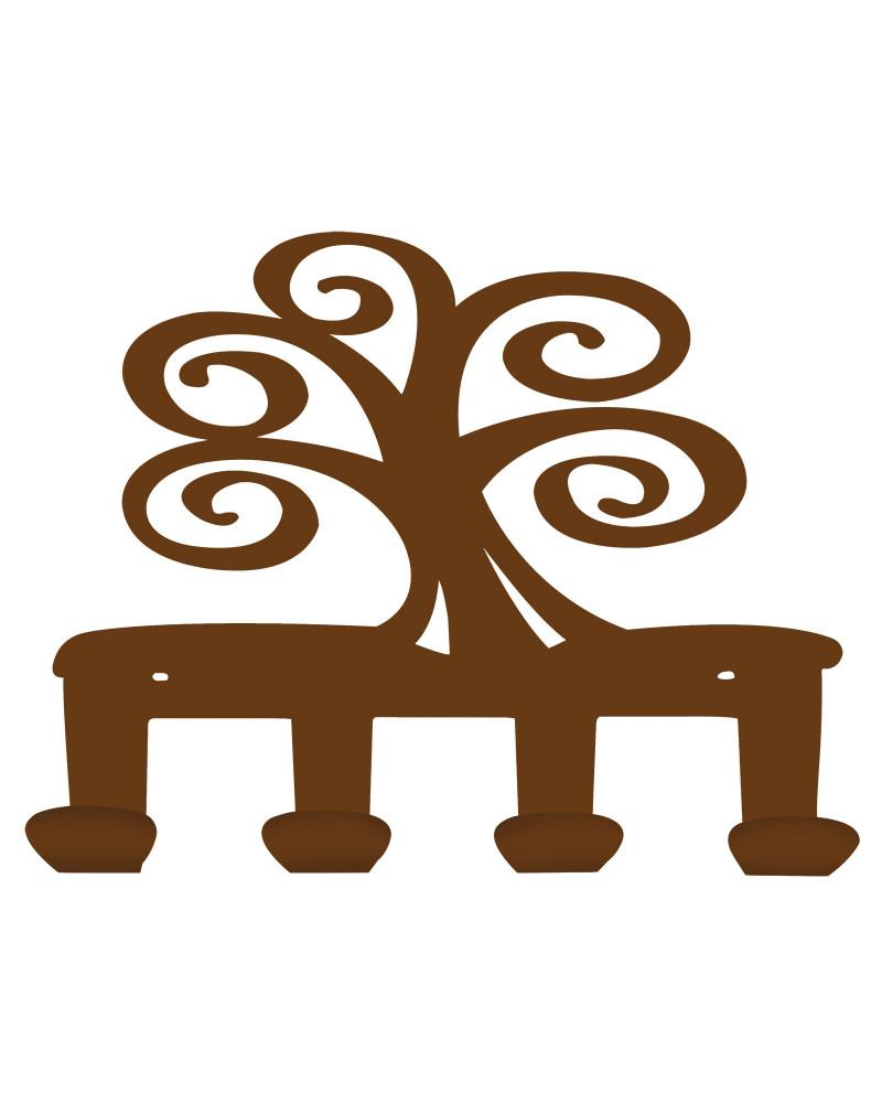 appendiabiti da parete albero della vita colore corten