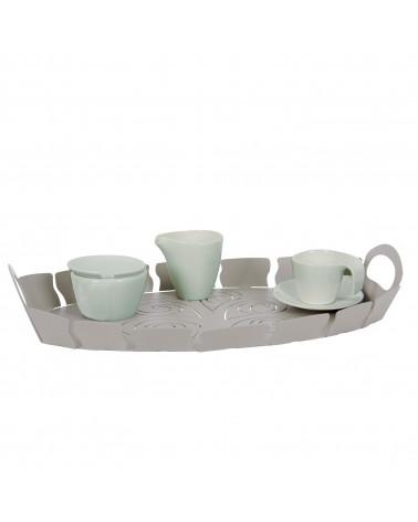 Vassoio design moderno in metallo Albero della Vita colore tortora