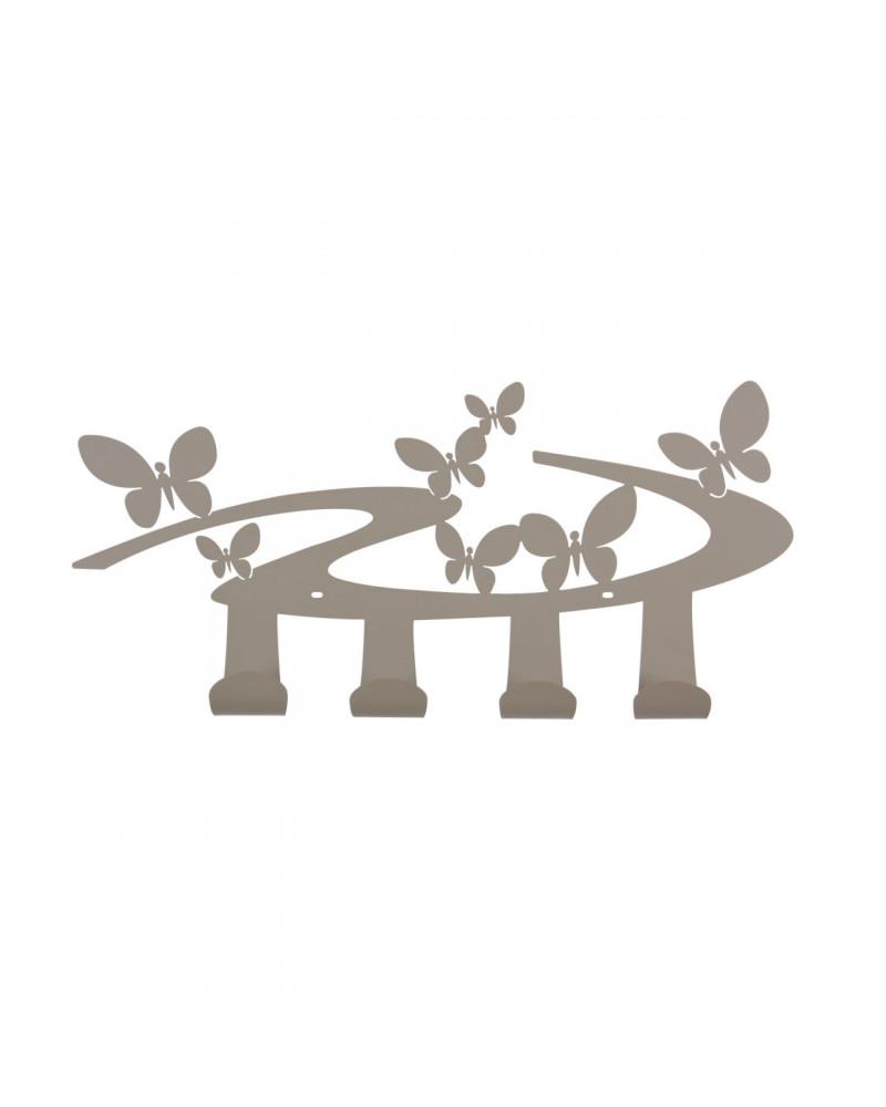 Appendiabiti farfalle da parete in metallo realizzato in italia da Ceart