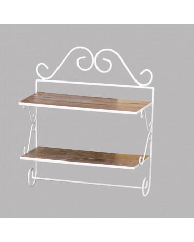 Mensola a 2 piani in ferro con ripiani in legno