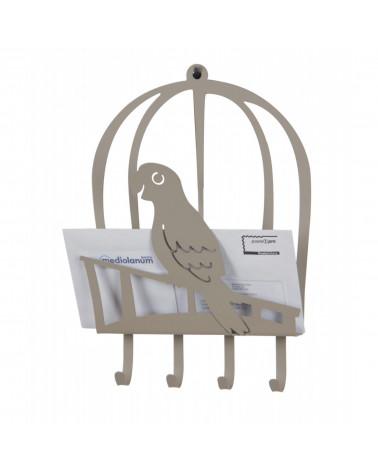 portalettere con portachiavi pappagallo in metallo colore tortora