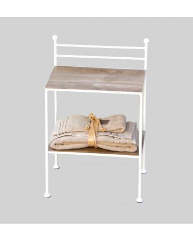 Comodino in ferro battuto con 2 ripiani in legno colore bianco