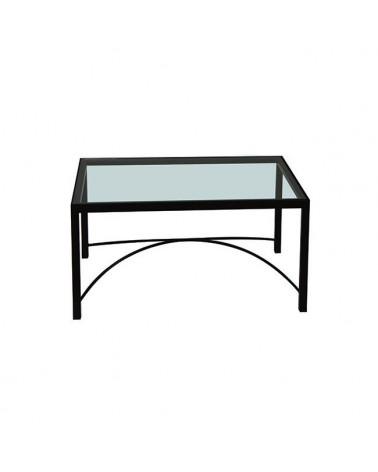 Tavolino Rettangolare In Ferro Con Cristallo