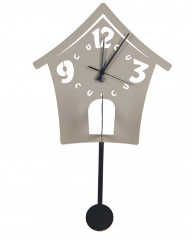Orologio da parete moderno Cucu in metallo colore tortora