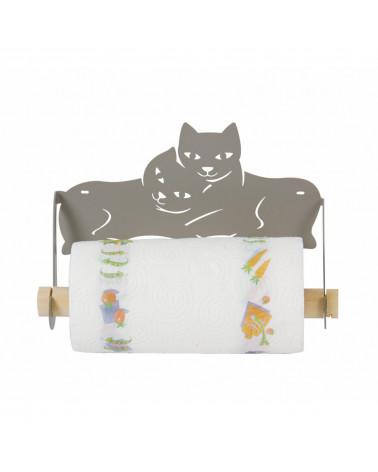 Porta Scottex da parete con gatti stilizzati colore tortora