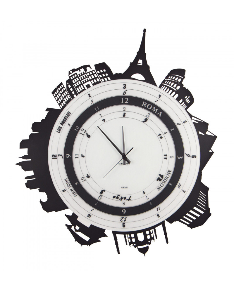orologio da parete particolare Città forma circolare colore nero