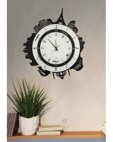 orologio da parete particolare Città forma circolare colore nero ambientato
