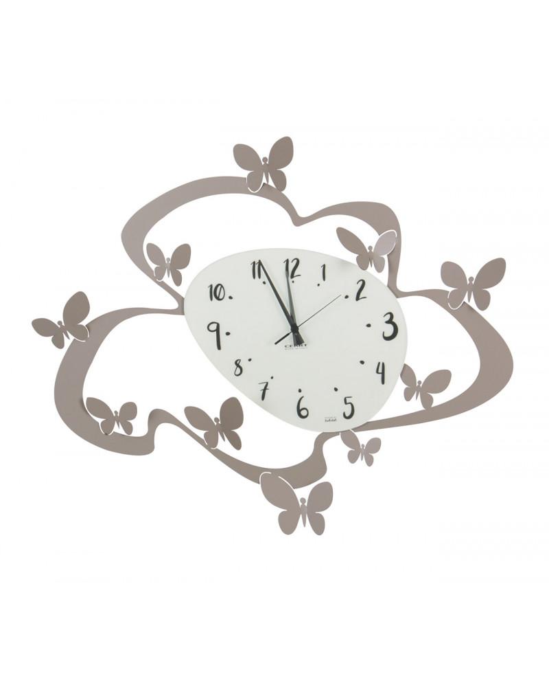 orologio farfalle colore tortora