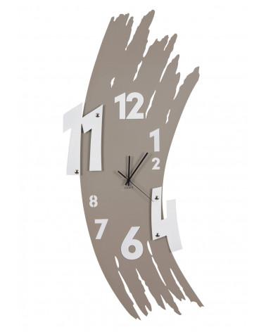 orologio da parete design Spennellata colore tortora con numeri colore bianco