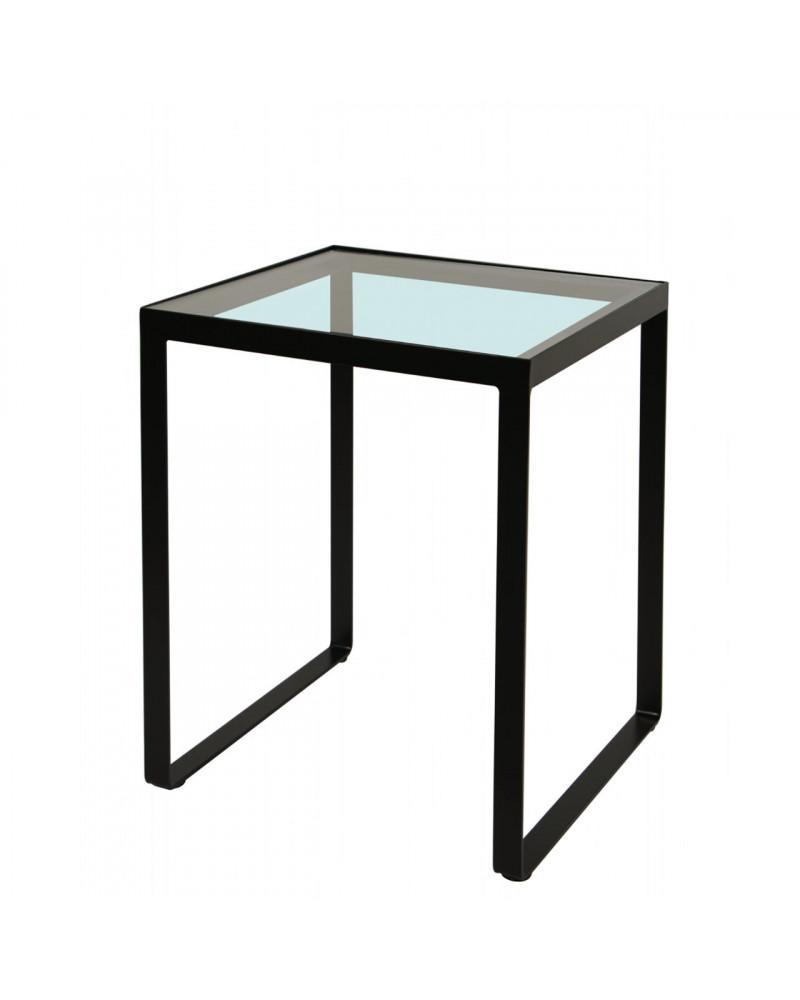 tavolino in ferro con ripiano in vetro colore nero