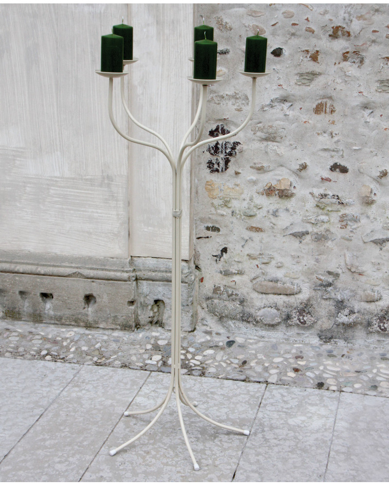 foto Candelabro da terra 5 braccia in ferro colore avorio