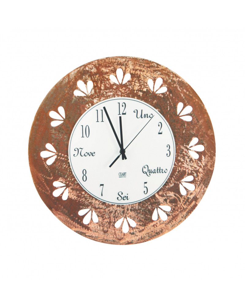 orologio da parete moderno foglie colore rame smerigliato