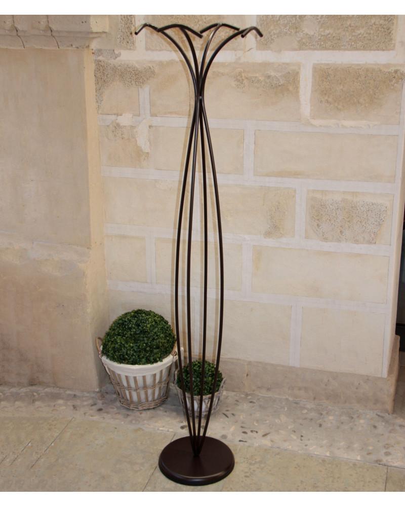 Appendiabiti da terra in ferro battuto altezza 175 cm colore nero
