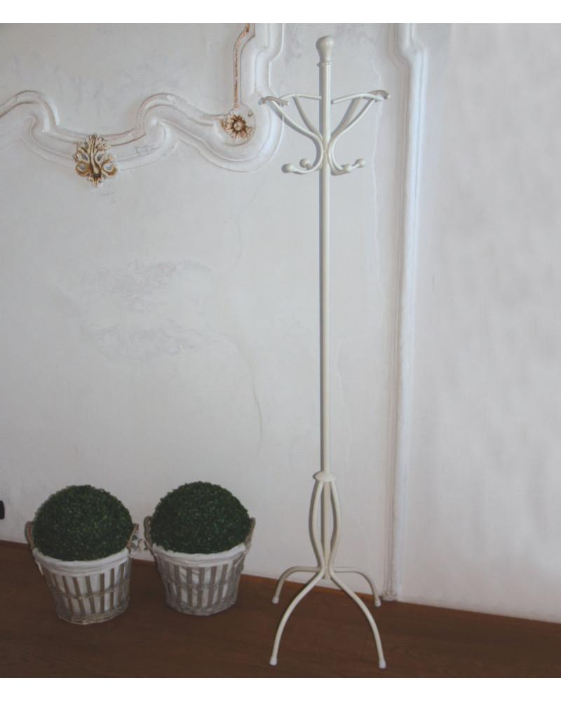 Appendiabiti da terra in ferro battuto altezza 188 cm colore avorio
