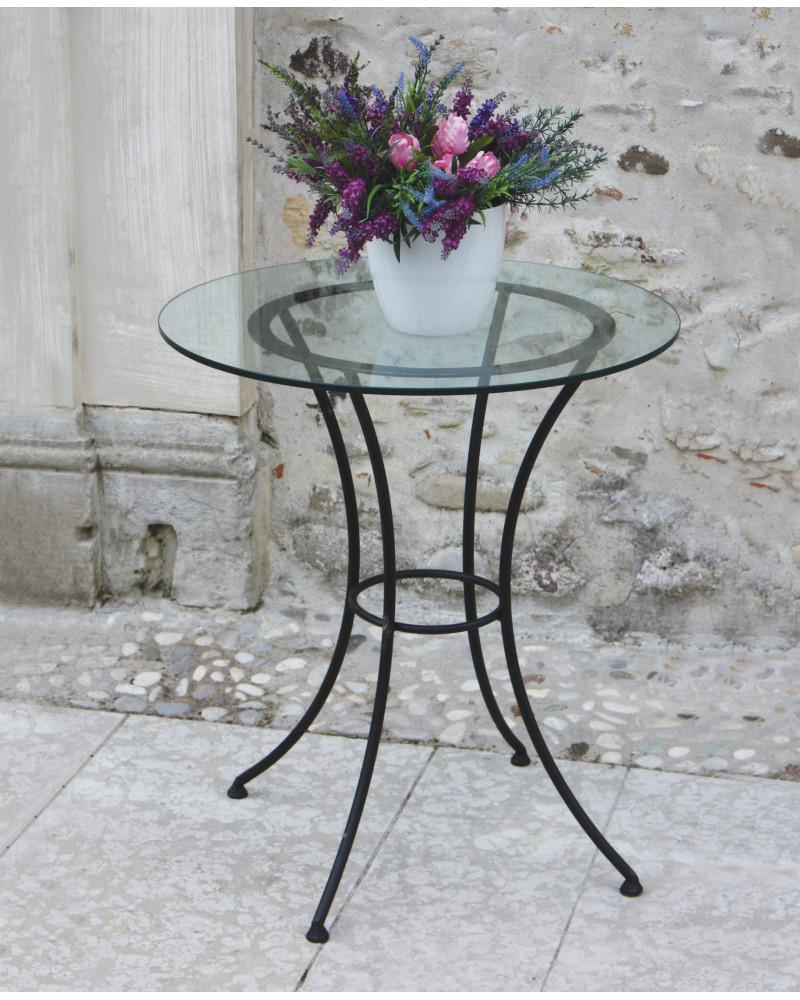 Tavolino rotondo in ferro battuto con cristallo