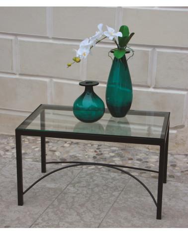 tavolino in ferro battuto rettangolare ripiano in cristallo