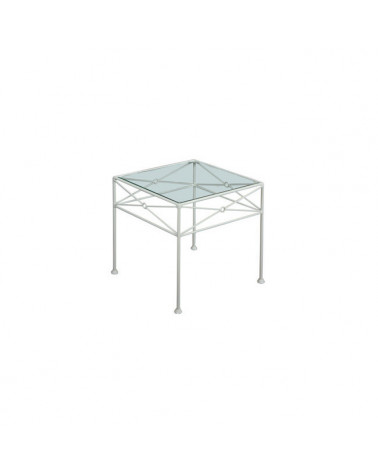 Tavolino in ferro battuto quadrato con cristallo  colore avorio