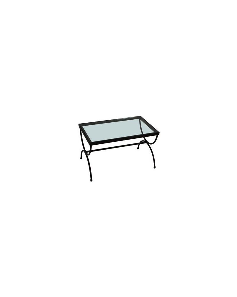 Tavolino in ferro basso con vetro